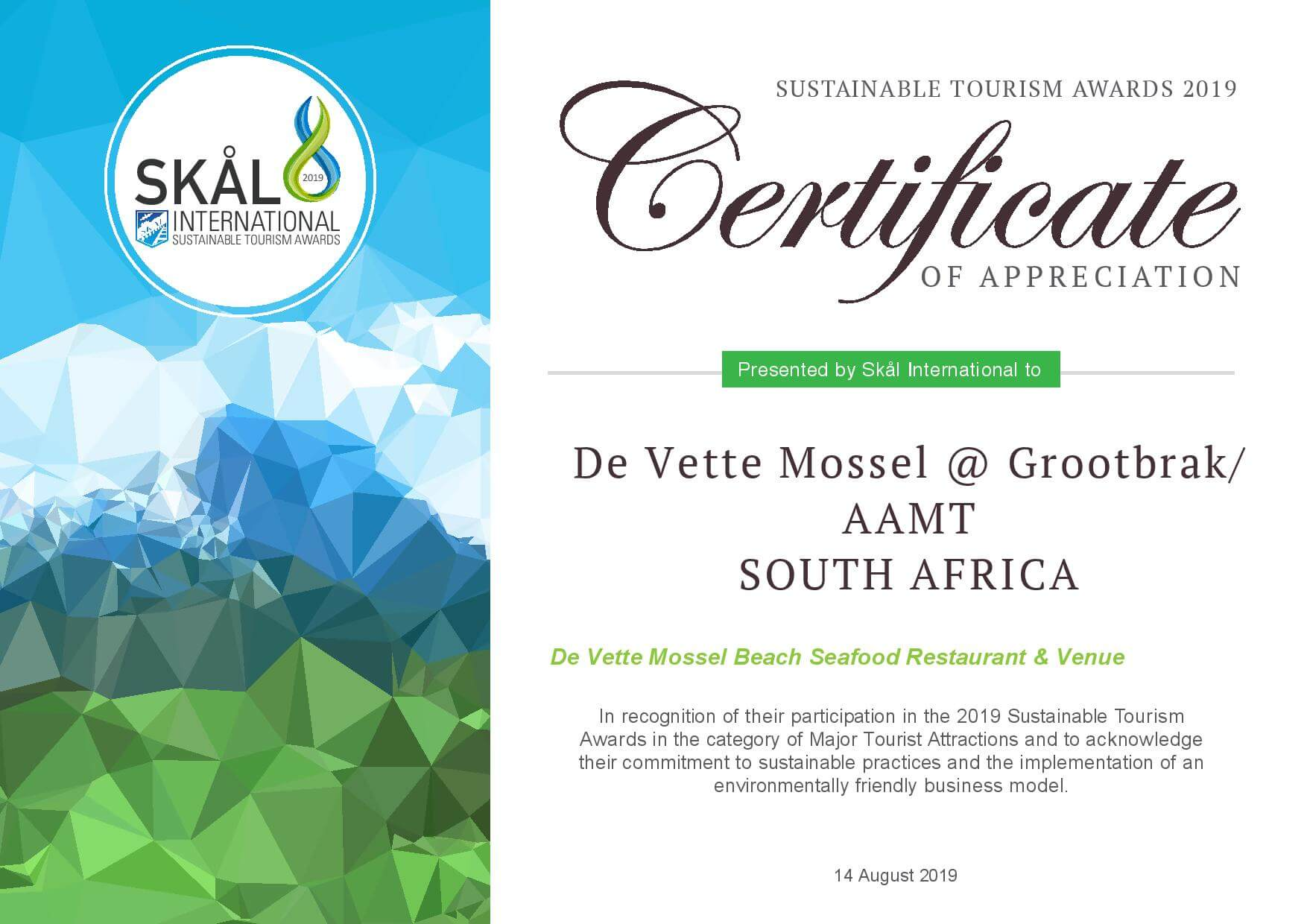 De Vette Mossel Grootbrak Restaurant Certificate